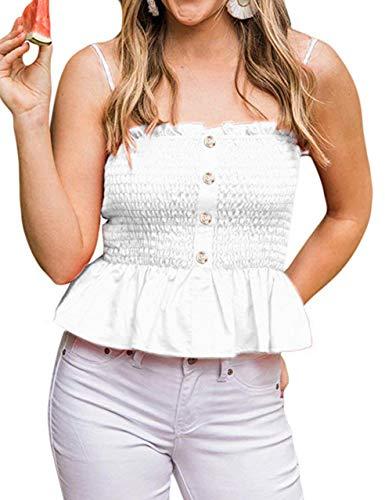 KAMISSY Women's Frill Smocked Crop Tank Top Tie Shoulder Strap Vest (Large, White-Button)