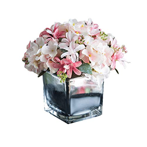 (Artificial Flower Fake Silk Rose Fake Flower Ornament Square Vase Used for Home Decoration Living Room Study Bedroom Coffee Table (Color : B) )