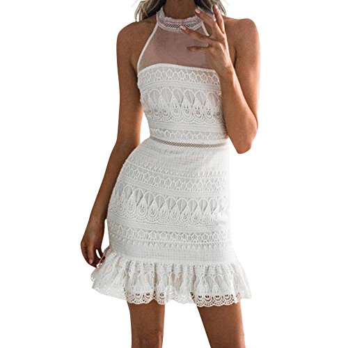 Women Dress JJLOVER Lace Backless Spaghetti Strap Short Dress Button Patchwork Solid Sexy Casual Evening Party Dress… - Strapless Sweetheart Sash