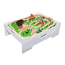 Melissa & Doug Wooden Train Table and 130 Piece Train Set Package by Melissa & Doug
