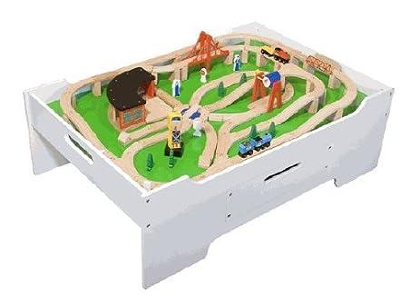 Amazon.com: Melissa & Doug Wooden Train Table and 130 Piece Train ...