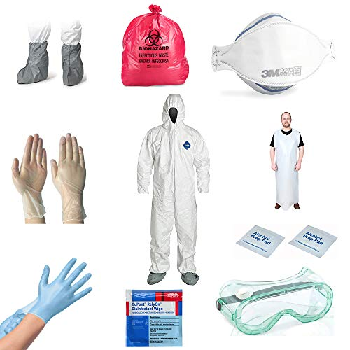 Biohazard Spill Cleanup Kit - Dupont Tyvek Coverall Suit with Hood, Wrist & Ankles, - 3M Respirator Mask - Shoe Cover - Safety Goggles - Nitrile & Vinyl Protective Gloves - Poly Apron - Wipes - XL -