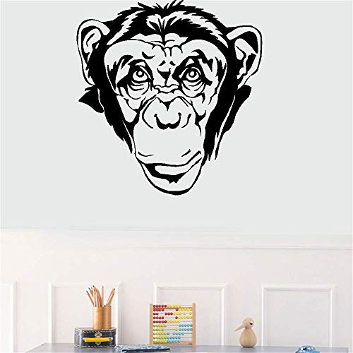 Ape Snowboard - Vinyl Wall Decal Wall Stickers Art Decor Peel and Stick Mural Removable Decals Chimp Ape Monkey Face Animal for Living Room Bedroom Nursery Kids Room