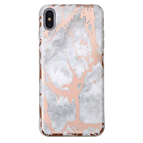 Rose Gold Chrome White Marble iPhone Xs Case/iPhone X Case - Premium Protective Cover - Cute Phone Cases for Girls & Women [Drop Test Certified]