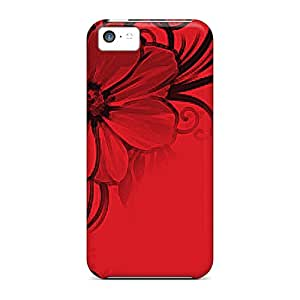 New Floral Red And Black Tpu Case Cover, Anti-scratch Kimmith Phone Case For Iphone 5c