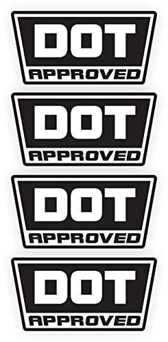 4x DOT Approved Motorcycle Helmet Stickers Decals | Hard Hat Labels | Set of 4