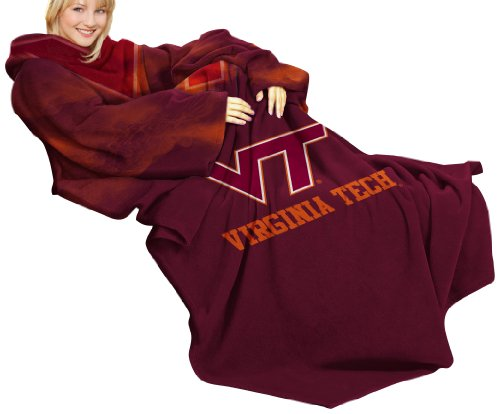 NCAA Virginia Tech Hokies Comfy Throw Blanket with Sleeves, Smoke Design