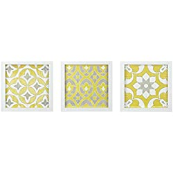 Madison Park Tuscan Tiles Framed Grey White Canvas Wall Art 12X12 3 Piece Multi Panel, Abstract Global Inspired Wall Décor