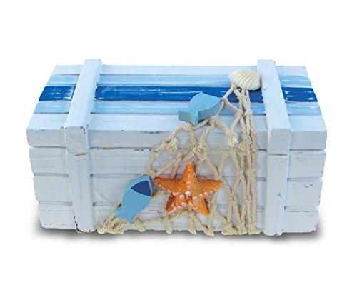 (Puzzled Small Light Blue Striped Wood Jewelry Box, 5 x 2.5