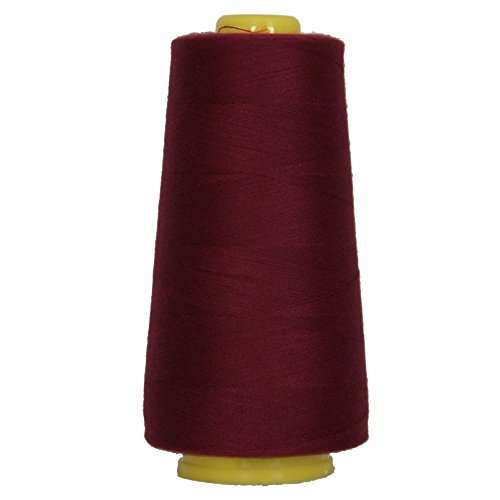 55 Colors - Polyester Huge 2750 YD Cones 40/2 TEX 27 Sewing SERGER Thread Spun (DK Maroon)