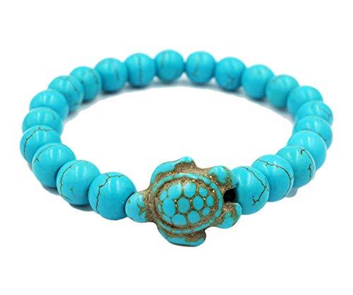 exoticdream Turtle Beads Elastic Bracelet Handmade Reggae Hawaiien Wikiki Beach Boho + Turtle Bracelet/Anklet + Tribal Jewelry Bag (Turtle & ()