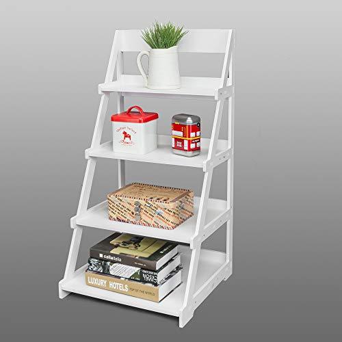Topfire US Stock Ladder Shelf 4 Tier Bookshelf Bookcase, Multifunctional Plant Flower Stand Storage Shelves Rack Wood Plastic Look White Frame Modern Furniture Home Office