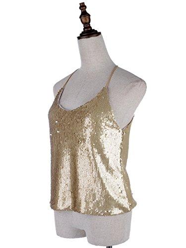 Top Scintilla Anna Gold matte Glitter kaci Pizzo Lustrini Glow Canottiera E Donna Decorazione Rilassato gPIwqrP