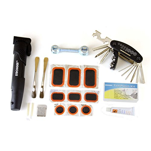 LB1 High Performance Durable Bike Tool Kit for SE Lager Fixed Gear Bike with Complete Bicycle Tire Repair Kit, Tire Pump, Tire Patches, Steel Tire Levers, Triangle Bag, Cycling Maintenance Tool Set