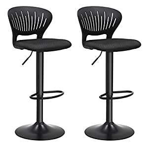 SONGMICS Bar Stool Set of 2, Height Adjustable Bar Chairs with Crown-Shaped Back, Comfortable Padded Seat, Footrest…