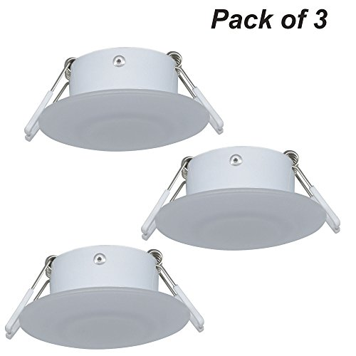 Facon 3 Inch LED RV Puck Light Full Aluminum Recessed Mount Down Light 12V 3W 210Lumens(Pack of 3) (Recessed Switch)