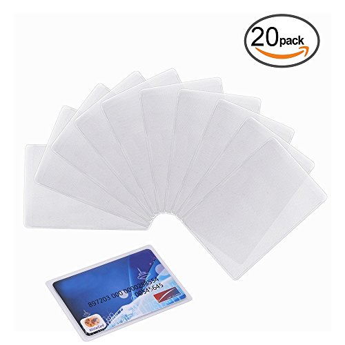 Honbay 20PCS Transparent Plastic Vertical ID Credit Card Holder Protector Sleeve