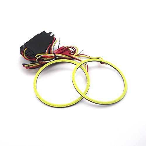 ZXREEK 2x Universal Switchback COB Dual Color LED Angel eyes Halo rings Marker Brake Reverse Light 90mm