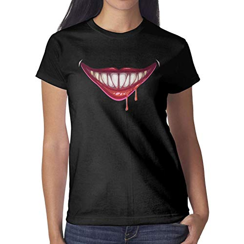 Melinda Halloween Stencils Zombie Mouth Blood Girls T-Shirt Halloween Costumes for Women