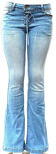 - Wax Jean Womens Juniors 70s Trendy Slim Fit Flared Bell Bottom Denim Jeans Pants (Blue Light Wash, 5)