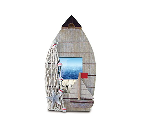 """Puzzled Nautical Decor Brown Boat Frame, 2.5 x 3.5"""""""