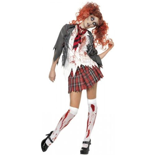 [Smiffy's Women's High School Horror Zombie Schoolgirl Costume, Jacket, Attached Shirt, Tie and Skirt, High School Horror, Halloween, Size 10-12, 32929] (High School Girl Halloween Costumes)