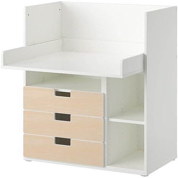 Ikea STUVA - Escritorio con 3 cajones, Blanco, Abedul ...