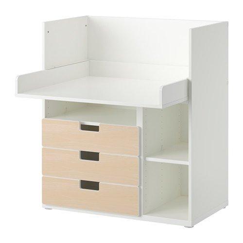 IKEA STUVA - Escritorio con 3 cajones, blanco, abedul - 90x79x102 ...