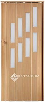 Plegable puerta corredera puerta con cerradura y ventana H 203 cm, madera de aliso, anchura 85 cm doble pared perfil nuevo: Amazon.es: Bricolaje y herramientas