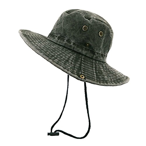 lethmik Weathered Cotton Boonie Hat Unisex Fishing Sun Camouflage Hat With Chin Cord Photo #2
