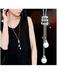Pearl Crystal Snowflake Tassel Long Sweater Pendant...