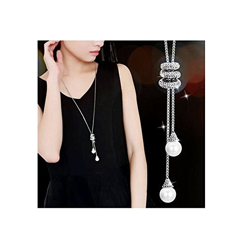 Spiritlele Crystal Pearl Tassel Pendant Necklace Long Sweater Necklace for Women Girls