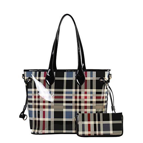 - Women Purses and Waller Leather Hobo Handbags Designer Shoulder Tote Purses Plaid-Black