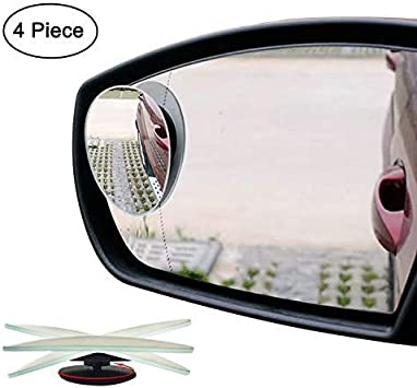 Ampper 30 Cm Clip on Transparent Housing Wide Angle Rear View Mirror for Car Blind Spot Reduce Car Flat Interior Rearview Mirror Flat, White
