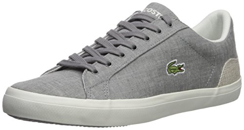 Lacoste Men's Lerond Sneaker, Grey Canvas, 9 M US