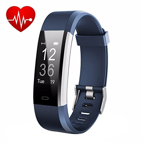 LETUFIT PLUS Fitness Tracker + Heart Rate Monitor,IP67 Waterproof Smart Wristband With Pedometer Watch for Android and Ios (blue)