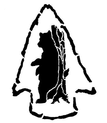 Bear Inside Arrowhead Scratching Tree Stencil Bears Rustic Chic Stencils
