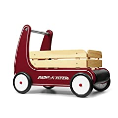 "Classic, safe and versatile, this award-winning push wagon is a favorite for children and parents alike. The ""resist push"" feature allows beginner walkers to safely build confidence and balance. Removable wooden stake sides add to the fun and..."