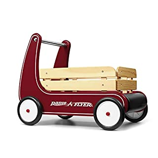 Radio Flyer Classic Walker Wagon, Sit to Stand Toddler Toy, Wood Walker