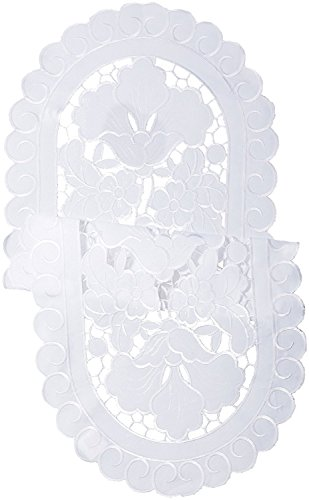 Violet Linen Sapphire Embroidered Cutwork Lace Design Table Runner, 14