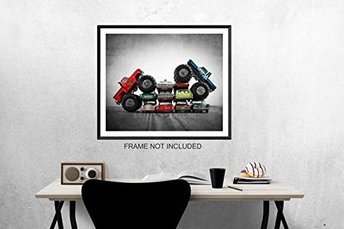 Vintage Monster Trucks Car Crush Blue Ford Vs. Awesome Kong, Boys room Wall art, Photo Decor, Monster truck room, Nursery decor, Kids Room Wall Art. (Monster Truck Pictures)