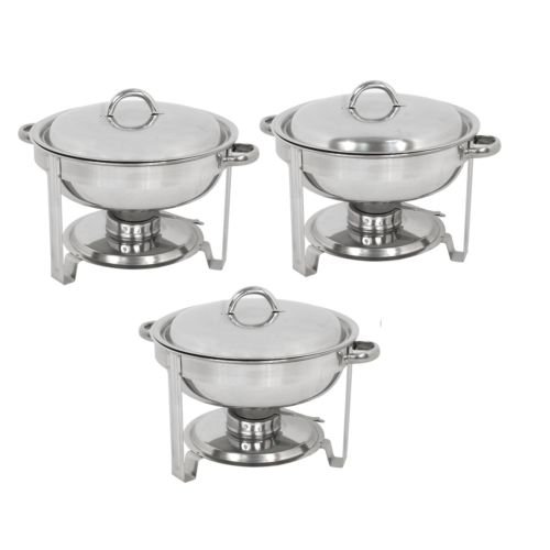 Super Deal Pack of 3 Deluxe Full Size Round Durable Frame 5 Qt. Stainless Steel Chafing Dish, Dinner Serving Buffer Warmer Set (3)