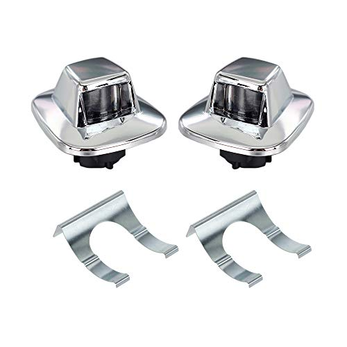 (HERCOO License Plate Lights Lamp Lens Chrome Housing Compatible with 1987 to 1994 Chevrolet Blazer 1988 to 1999 Chevy GMC C1500 C2500 C3500 K1500 K2500 K3500 Suburban Tahoe Sonoma YukoN, Pack of 2)