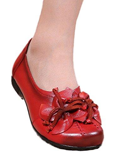 Soojun Mocassins En Cuir Pour Femme Chaussures Plates Slip-ons Avec Fleur  Rouge fca48588d481
