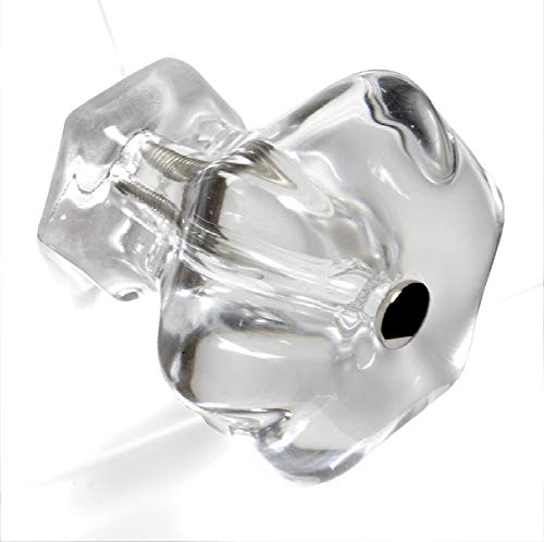 Drawer Handle, Vintage Dresser Knobs or Glass Cabinet Door Pull T93VF 6 Pack Large 1.85 in. / 47mm Diameter Clear Crystal Glass Hexagon Knobs with Polished Nickel Hardware. Romantic Decor & More