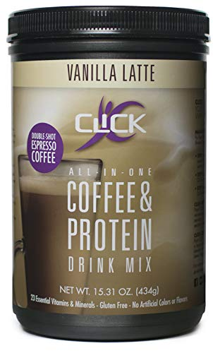 CLICK All-In-One Protein & Coffee Meal Replacement Drink Mix, Vanilla Latte, 15.3 Ounce (Best Protein Food For Women)