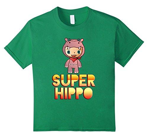 Kids Super Hippo Mascot! Hippopotamus Lover T-Shirt 8 Kelly Green