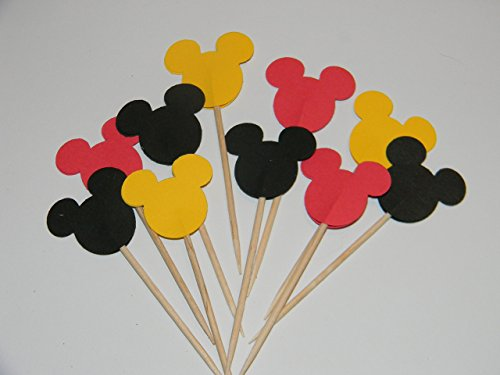 24 Mickey Mouse inspired Red, Black and Yellow colored cupcake toppers food picks birthday party décor shower supplies