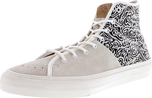 Vans Sk8-hi Decon Hommes Bout Rond Toile Noir Skate Chaussure Italien Tissage Blanc De Blanc-noir