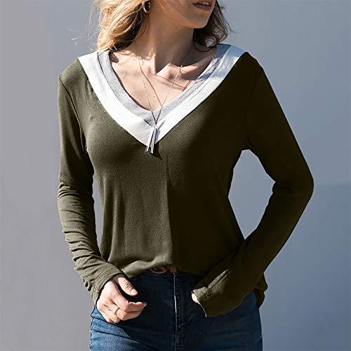 Casual Haut arme Automne V Xinantime verte Color Chemise Tops Mode Block T Shirt Femmes Femmes Col Longues Manches Patchwork Blouse hiver nqUwHRR0xt